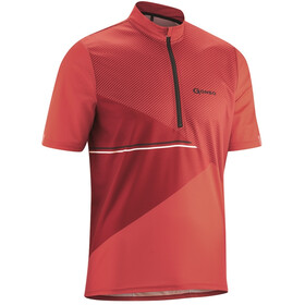 Gonso Ripo Fietsshirt Korte Mouwen Halve Rits Heren, high risk red